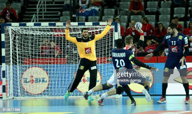 Goalkeeper Cyril Dumoulin of France in action during the 2018 EHF European Men's Handball Championship semifinal match between France and Spain at...