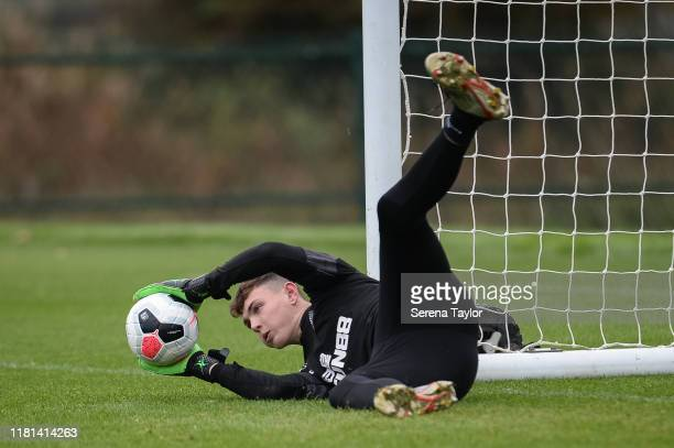 Goalkeeper Dan Langley dives to make a save during the Newcastle United Training Session at the Newcastle United Training Centre on October 16 2019...