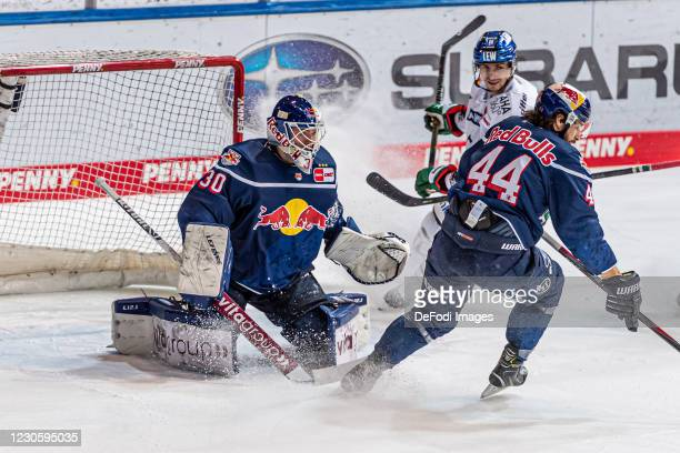Goalkeeper Daniel Fiessinger of EHC Red Bull Muenchen in action during the DEL match between EHC Red Bull Muenchen and Augsburger Panther on January...