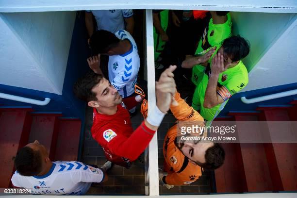 Goalkeeper Daniel Hernandez of Tenerife SAD clashes hands with goalkeeper Juan Carlos Martin of Elche FC prior to start the La Liga second league at...