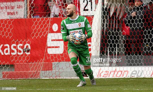 Goalkeeper Daniel Lueck of Cottbus runs with the ball during the third league match between FC Energie Cottbus and 1.FC Magdeburg at Stadion der...
