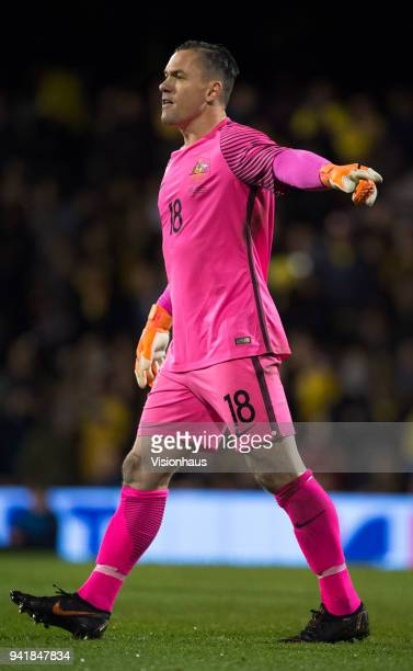 Goalkeeper Daniel Vukovic of Australia during the International Friendly match between Australia and Colombia at Craven Cottage on March 27 2018 in...