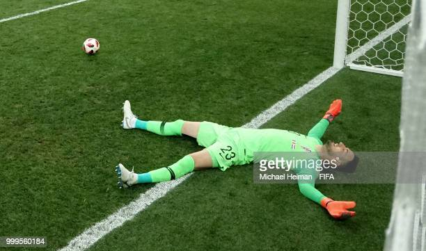Goalkeeper Danijel Subasic of Croatia lies dejected following the third goal for France scored by Paul Pogba during the 2018 FIFA World Cup Final...