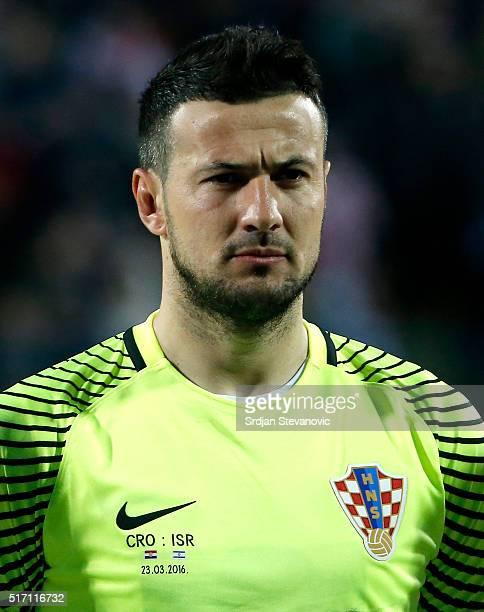 Goalkeeper Danijel Subasic of Croatia looks on prior the International Friendly match between Croatia and Israel at stadium Gradski Vrt on March 23...