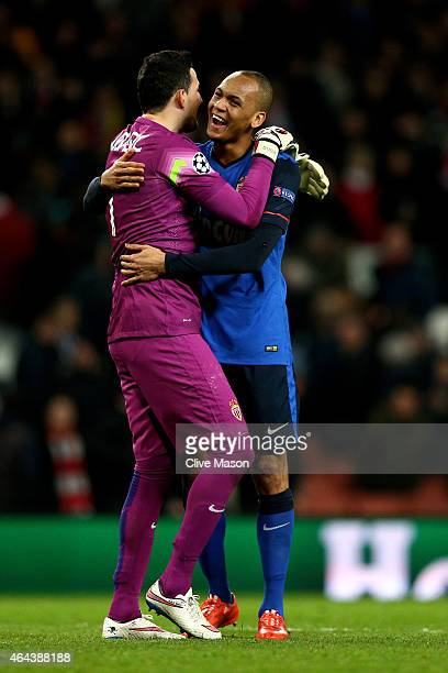 Goalkeeper Danijel Subasic of Monaco and Fabinho of Monaco celebrate following their team's 31 victory during the UEFA Champions League round of 16...