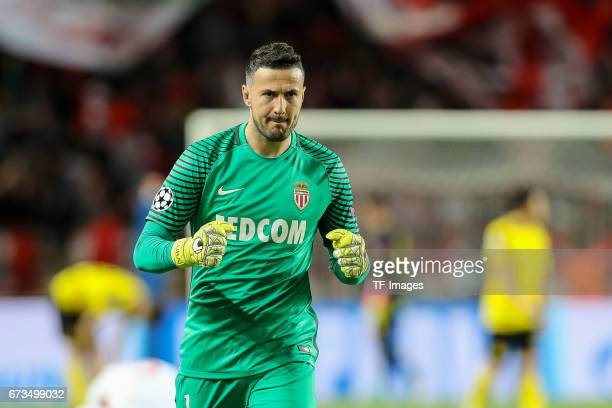 Goalkeeper Danijel Subasic of Monaco celebrate the second goalduring the UEFA Champions League quarter final second leg match between AS Monaco and...