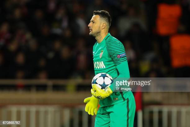 Goalkeeper Danijel Subasic of Monaco controls the ball during the UEFA Champions League quarter final second leg match between AS Monaco and Borussia...