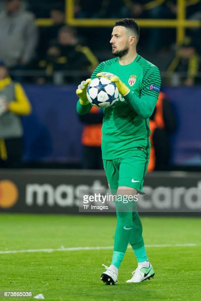 Goalkeeper Danijel Subasic of Monaco controls the ball during the UEFA Champions League Quarter Final First Leg match between Borussia Dortmund and...