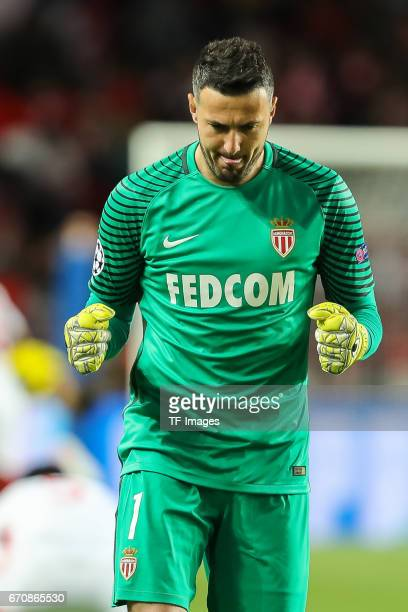 Goalkeeper Danijel Subasic of Monaco gestures during the UEFA Champions League quarter final second leg match between AS Monaco and Borussia Dortmund...