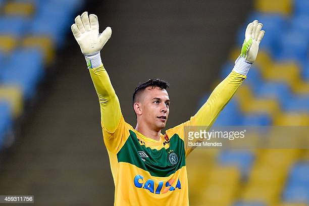 Goalkeeper Danilo of Chapecoense celebrates the victory after a match between Fluminense and Chapecoense as part of Brasileirao Series A 2014 at...