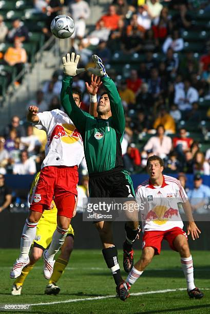 Goalkeeper Danny Cepero of the New York Red Bulls makes a save in the first half against the Columbus Crew during the 2008 MLS Cup match at The Home...