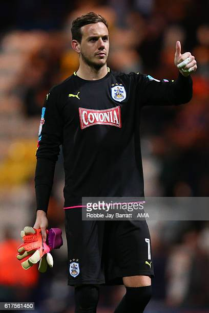 Goalkeeper Danny Ward of Huddersfield Town gives the fans a thumbs up during the Sky Bet Championship match between Preston North End and...