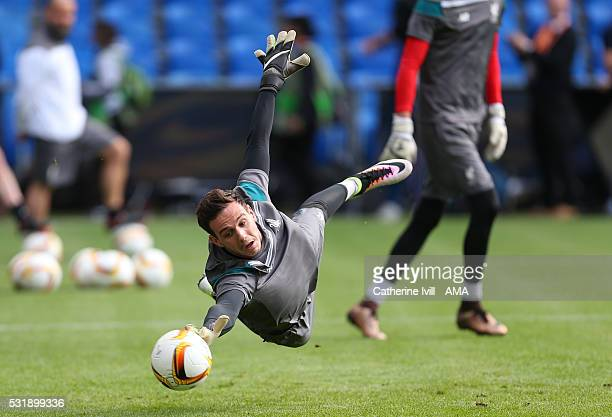 Goalkeeper Danny Ward of Liverpool makes a save during the training session before the UEFA Europa League Final at St JakobPark on May 17 2016 in...