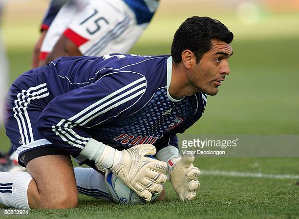 Goalkeeper Dario Sala of FC Dallas looks upfield after making a save in the first half during their MLS game against CD Chivas USA at the Home Depot...