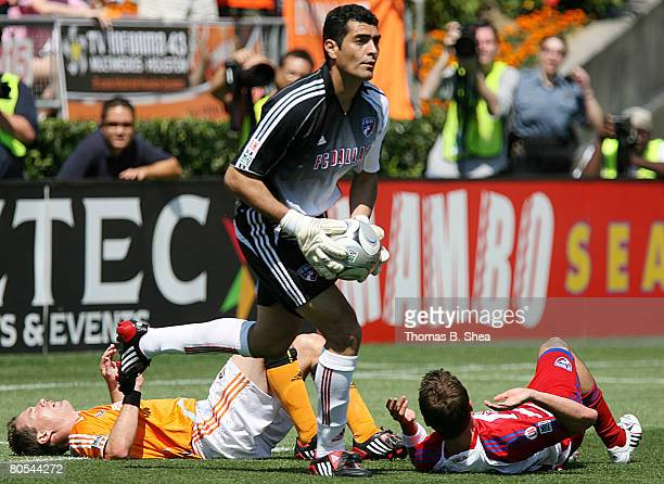 Goalkeeper Dario Sala of FC Dallas makes a save against the Houston Dynamo during an MLS game at Robertson Stadium April 6, 2008 in Houston, Texas....