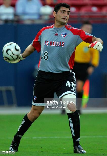Goalkeeper Dario Sala of FC Dallas moves the ball during SuperLiga play with the Los Angeles Galaxy at Pizza Hut Park July 31, 2007 in Frisco, Texas.
