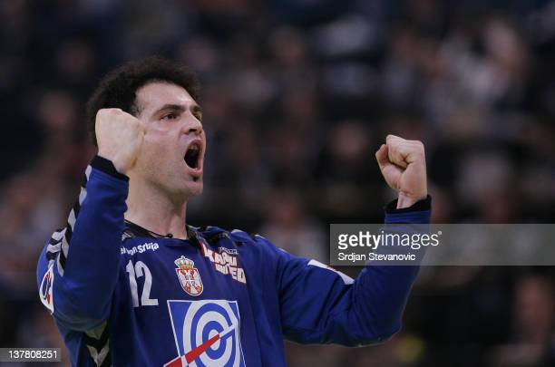 Goalkeeper Darko Stanic of Croatia celebrates victory after the Men's European Handball Championship 2012 semifinal match between Serbia and Croatia...