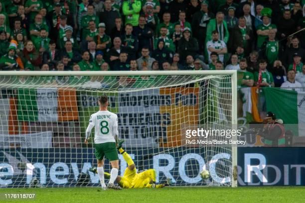 Goalkeeper Darren Randolph of Republic of Ireland concedes a goal during the UEFA Euro 2020 qualifier between Switzerland and Republic of Ireland on...