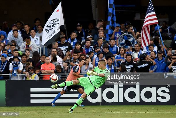 Goalkeeper David Bingham of San Jose Earthquakes kicks the ball up field away from his goal against the Chicago Fire during the second half at Avaya...