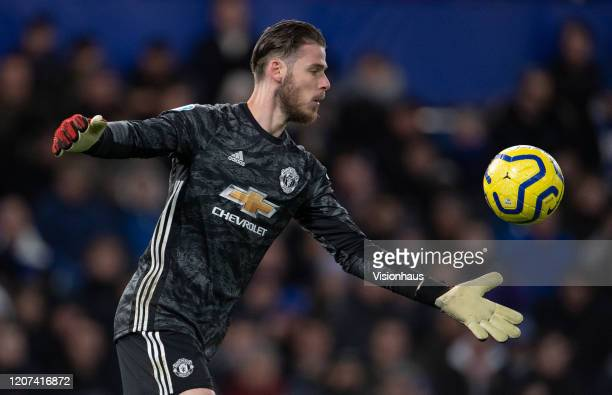 Goalkeeper David de Gea of Manchester United during the Premier League match between Chelsea FC and Manchester United at Stamford Bridge on February...