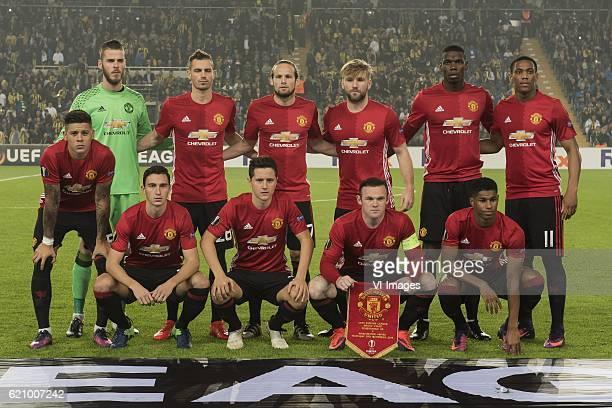 goalkeeper David de Gea of Manchester United FC Morgan Schneiderlin of Manchester United FC Daley Blind of Manchester United FC Luke Shaw of...