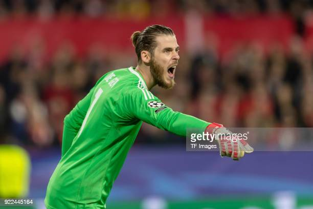 Goalkeeper David de Gea of Manchester United gestures during the UEFA Champions League Round of 16 First Leg match between Sevilla FC and Manchester...