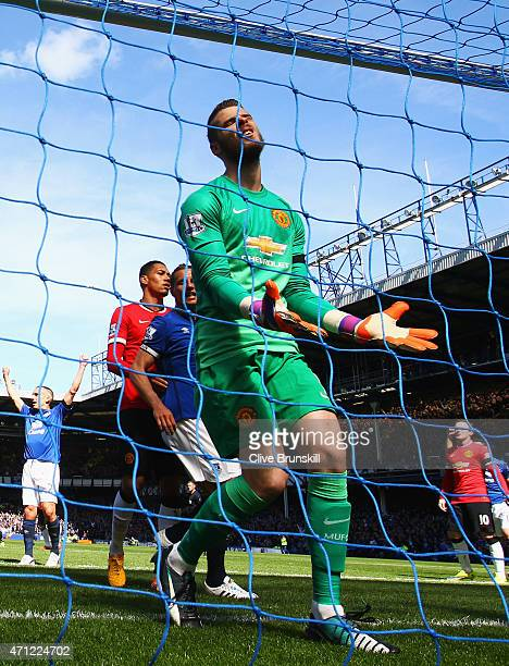Goalkeeper David De Gea of Manchester United reacts as John Stones of Everton scores their second goal with a header during the Barclays Premier...