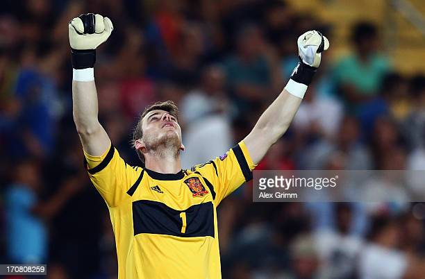 Goalkeeper David de Gea of Spain celebrates after team mate isco scored his team's fourth goal during the UEFA European U21 Championship final match...