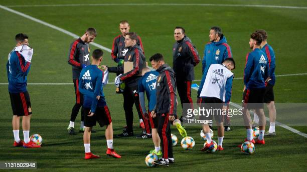 goalkeeper David De Gea of Spain gestures during a Spain international training session at Las Rozas sports complex on March 18 2019 in Madrid Spain