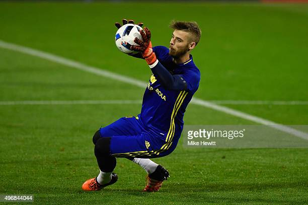 Goalkeeper David de Gea of Spain in action during a Spain training session at the Estadio Jose Rico Perez on November 12 2015 in Alicante Spain
