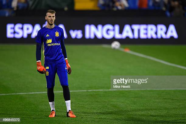 Goalkeeper David de Gea of Spain looks on during a Spain training session at the Estadio Jose Rico Perez on November 12 2015 in Alicante Spain