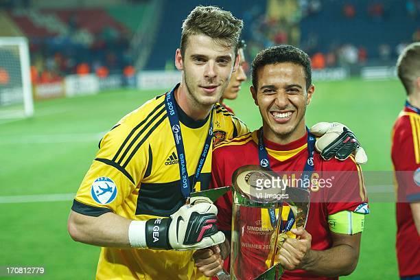 Goalkeeper David de Gea of Spain U21, Thiago Alcantara of Spain U21 with cup during the UEFA Euro U21 final match between Italy U21 and Spain U21 on...