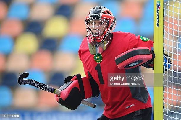 Goalkeeper David Harte of Ireland reacts during the Men´s EuroHockey Championships 2011 Pool B match between France and Ireland at Warsteiner...
