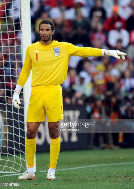Goalkeeper David James of England during the 2010 FIFA World Cup South Africa Round of Sixteen match between Germany and England at Free State...