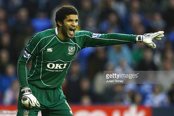 Goalkeeper David James of Portsmouth gives instructions during the Barclays Premier League match between Reading and Portsmouth at the Madejski...