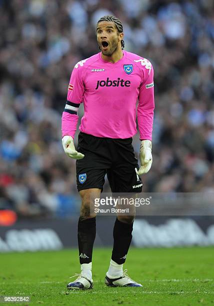 Goalkeeper David James of Portsmouth reacts to the goal during the FA Cup sponsored by E.ON Semi Final match between Tottenham Hotspur and Portsmouth...