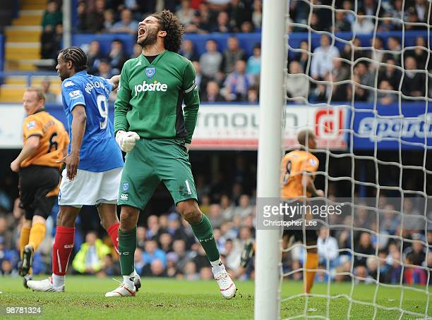 Goalkeeper David James of Portsmouth screams after Wolves score during the Barclays Premier League match between Portsmouth and Wolverhampton...