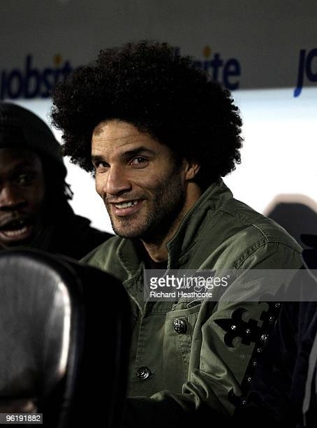 Goalkeeper David James of Portsmouth watches from the stands during the Barclays Premier League match between Portsmouth and West Ham United at...