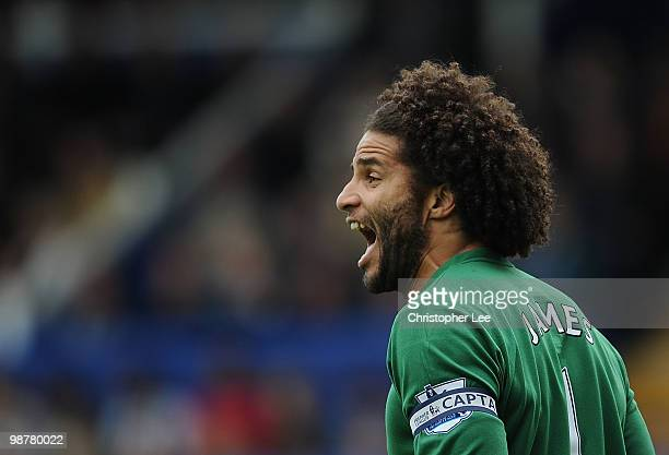 Goalkeeper David James of Portsmouth with a new hair cut during the Barclays Premier League match between Portsmouth and Wolverhampton Wanderers at...