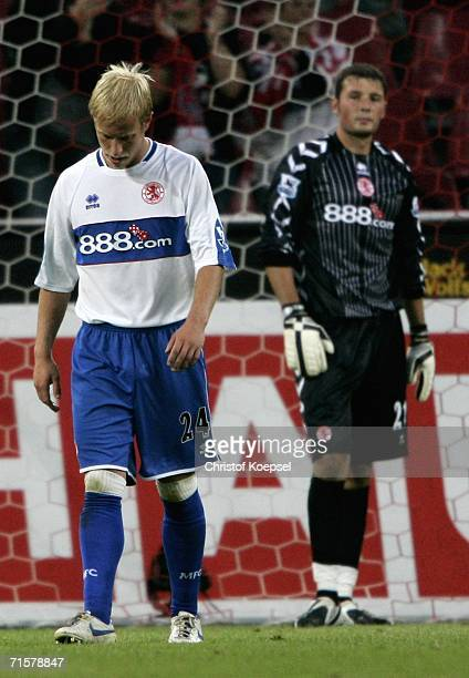 Goalkeeper David Knight of Middlesbrough and Andrew Davies are disappointed after loosing 02 the friendly match between FC Cologne and Middlesbrough...