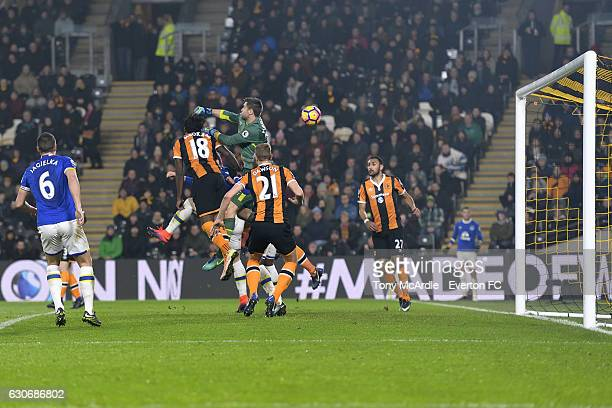 Goalkeeper David Marshall of Hull concedes an own goal as Everton equalise during the Barclays Premier League match between Hull City and Everton at...