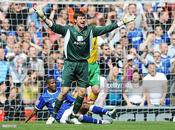 Goalkeeper David Marshall of Norwich appeals to the referee as he gives away a penalty by bringing down Kevin Lisbie of Ipswich during the CocaCola...