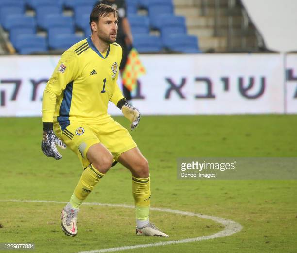 Goalkeeper David Marshall of Scotland looks on during the UEFA Nations League group stage match between Israel and Scotland at Netanya Stadium on...