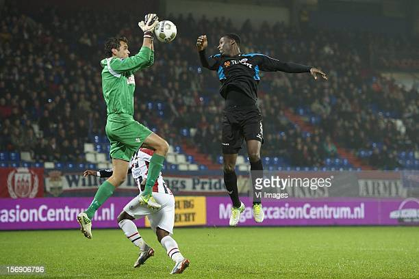 goalkeeper David Meul of Willem II Geoffrey Castillion of Heracles Almelo during the Dutch Eredivisie match between Willem II and Heracles Almelo at...