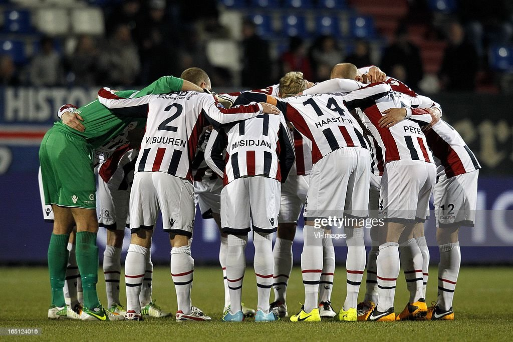, Goalkeeper David Meul of Willem II, Kees van Buuren of Willem II, Virgil Misidjan of Willem II, Philipp Haastrup of Willem II, Jordens Peters of Willem II, Ricardo Ippel of Willem II during the Dutch Eredivisie match between Willem II and FC Groningen at the Koning Willem II Stadium on march 30, 2013 in Tilburg, The Netherlands
