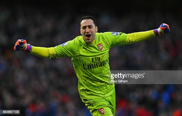 Goalkeeper David Ospina of Arsenal celebrates during the Barclays Premier League match between Arsenal and Everton at Emirates Stadium on March 1...