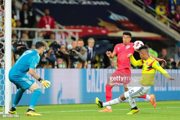 goalkeeper David Ospina of Colombia National team midfielder Jesse Lingard of England National team and midfielder Wilmar Barrios of Colombia...