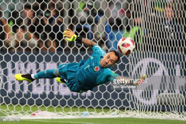 goalkeeper David Ospina of Colombia saves a penalty during the shootout in the Round of 16 2018 FIFA World Cup soccer match between Colombia and...