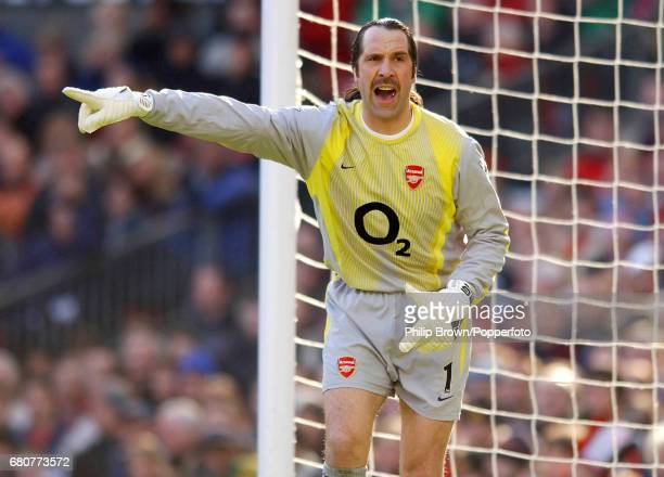 Goalkeeper David Seaman of Arsenal in action during the FA Cup fifth round match between Manchester United and Arsenal at Old Trafford in Manchester...
