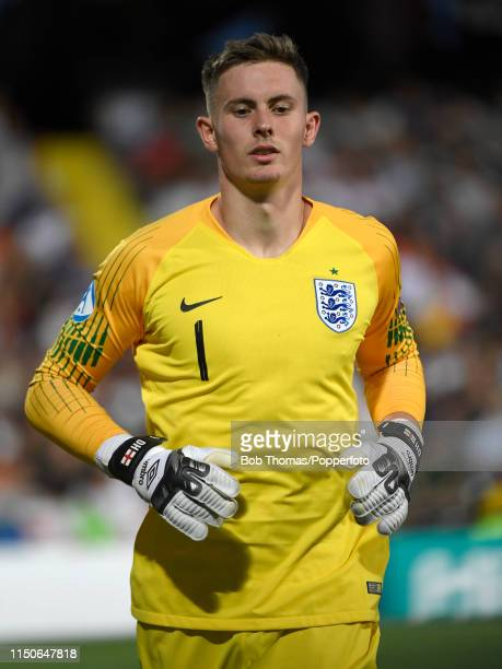 Goalkeeper Dean Henderson in action for England during the 2019 UEFA U21 Championship Group C match between England and France at Dino Manuzzi...